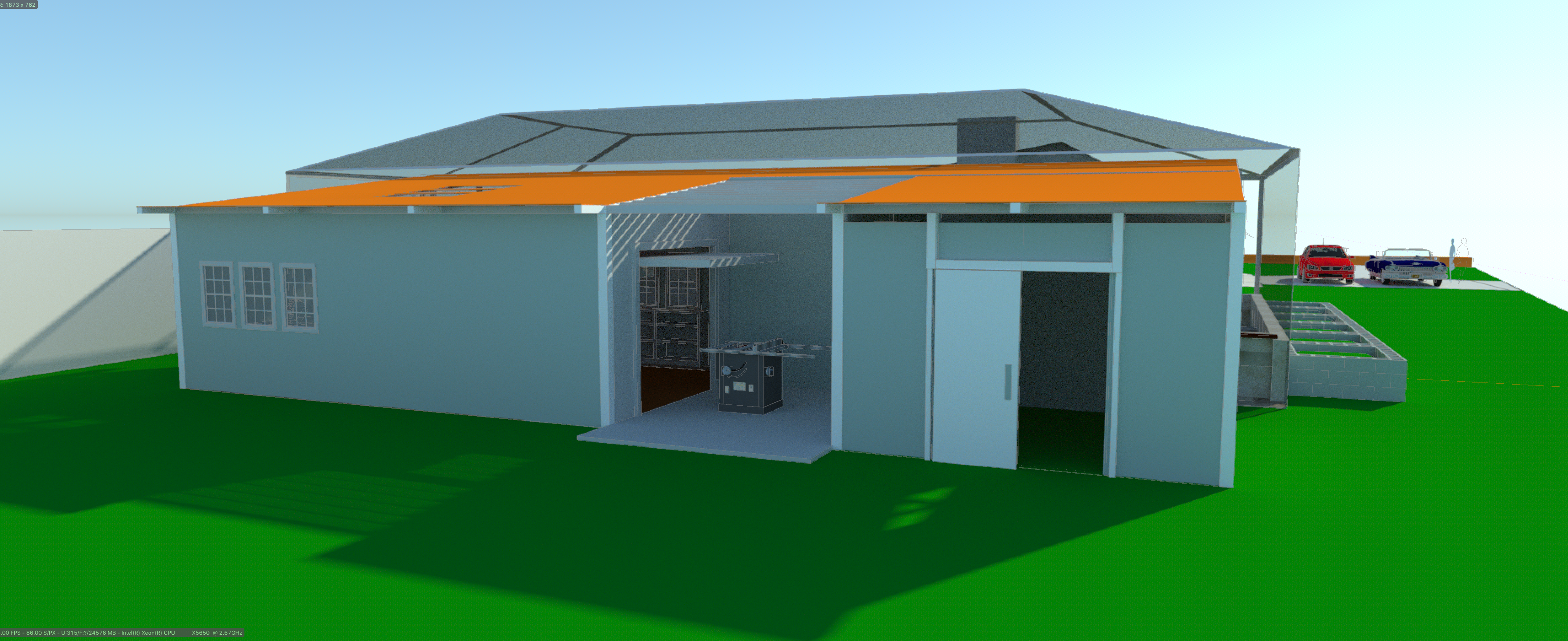 Rear view of studio / storage area showing the proposed open air work space...